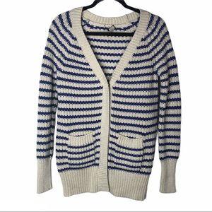 J Crew Striped Knit Cardigan Sweater Pockets XS